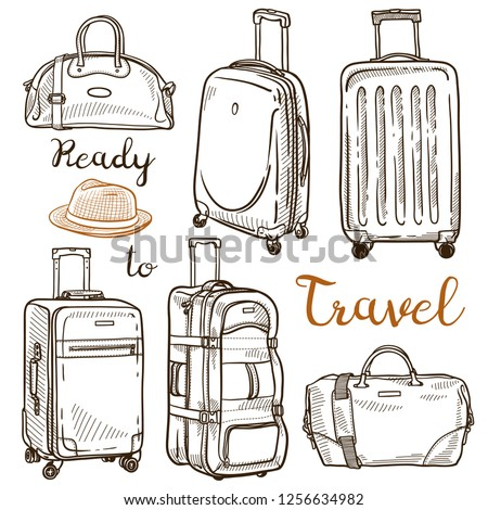 Set of hand drawn sketches of travel luggage: handbags, suitcases, travel bags. Vector ink isolated illustration