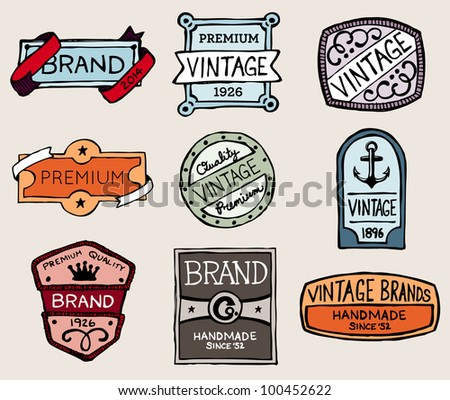 Set of hand-drawn sketchy vintage badges and labels
