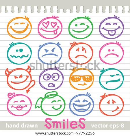 set of hand drawn smiles on realistic paper page