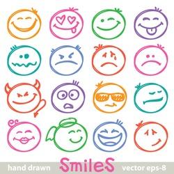set of hand drawn smiles on white background
