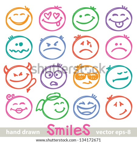 set of hand drawn smiles on white background