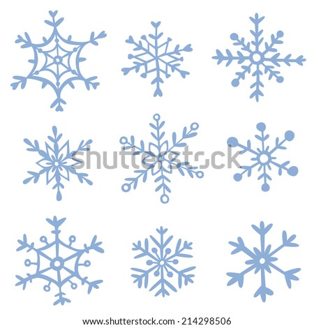 Set of hand drawn snowflakes. EPS 10. No transparency. No gradients.