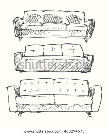 set of hand drawn sofa  vector