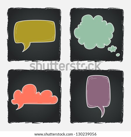 Set of hand drawn speech and thought bubbles on chalkboard background. Vector illustration.