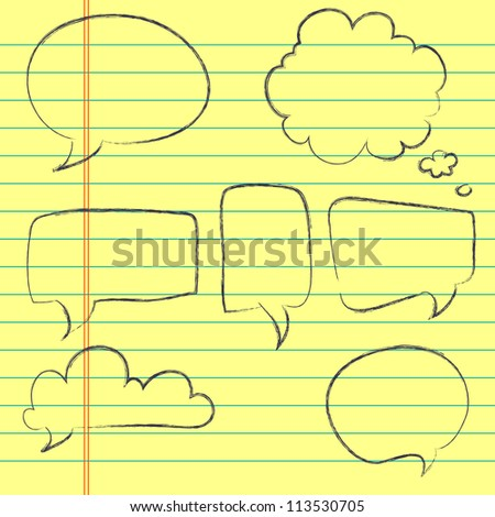 Set of hand drawn speech and thought bubbles on lined notebook paper background. Vector illustration.