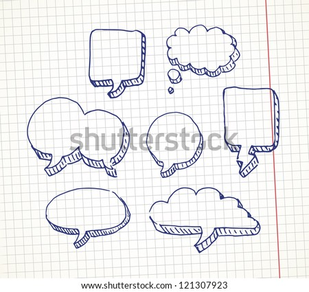 Set of hand drawn speech bubble on a notebook sheet. EPS10 vector.