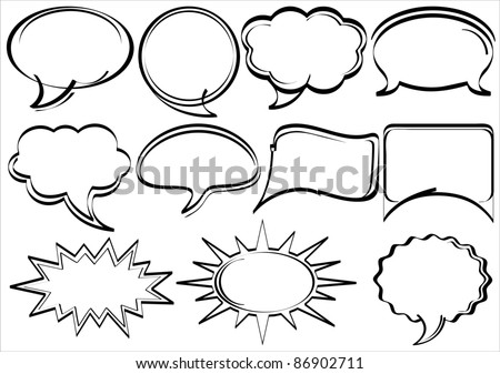 Set of hand-drawn speech bubbles comic book style