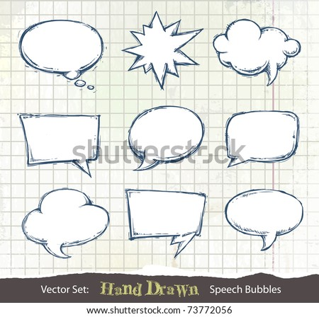 Set of hand-drawn speech bubbles on dirty sketchbook background. Layered. Vector EPS 10 illustration.