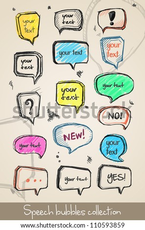 Set of hand drawn speech bubbles. Vector
