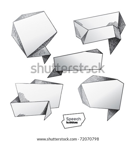 Set of hand drawn speech bubbles. Vector illustration.