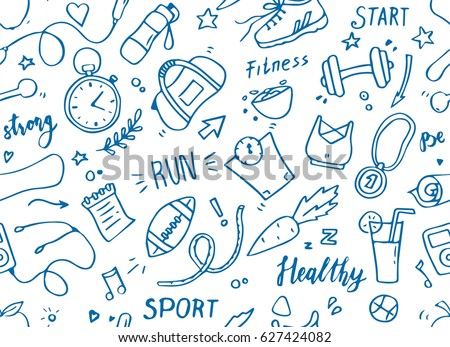 Set of hand drawn sport doodle seamless pattern with ball, bottle, medal, food, diet, fitness, gym elements. Cartoon sketch style background. Vector illustration for healthy and activity life designt.