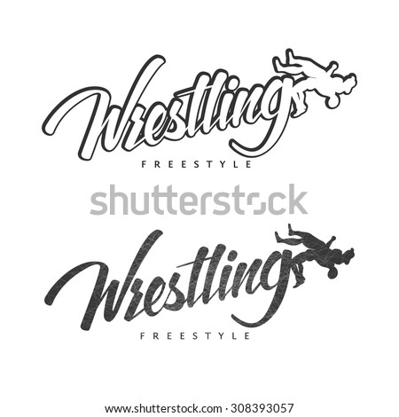 Set of  hand drawn sport logos, badges, labels. Wrestling theme. Template for your cover, print or gym design.