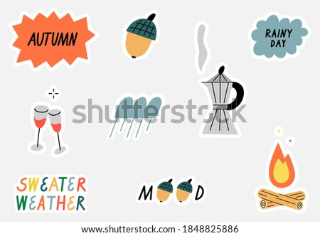 Set of hand drawn stickers about autumn. Editable set with isolated objects. Stickers set for nature lovers. Coffee and rain.