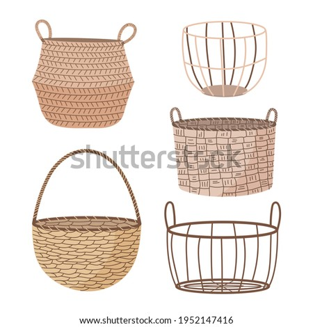 Set of hand drawn straw wicker baskets. Trendy empty baskets in doodle style. Straw baskets isolated on white background.
