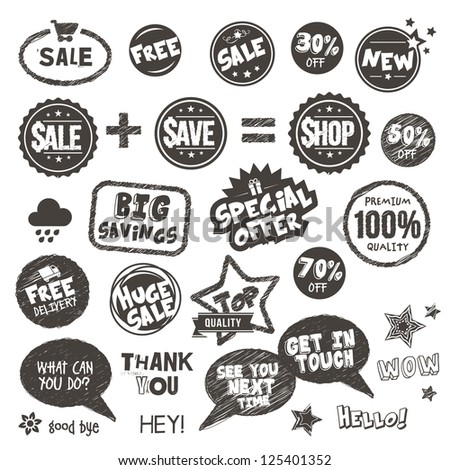 Set of hand drawn style badges and elements