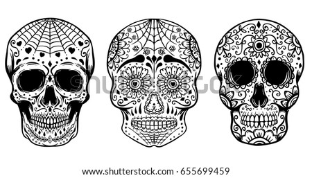 Set Of Hand Drawn Sugar Skulls Isolated On White Background Day The Dead