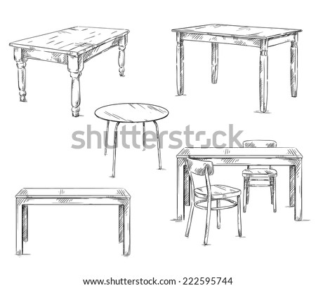 set of hand drawn tables, vector illustration Stock photo ©
