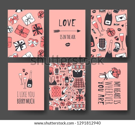 Set of Hand drawn Templates Fashion Cards with Romantic Objects and quote. Creative ink art work. Actual vector drawing of Holiday things. Happy Valentine's Day Illustration #1291812940