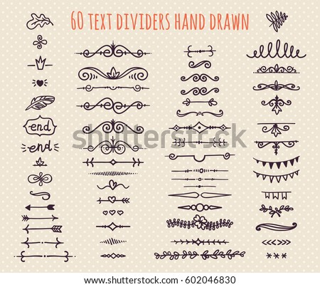 Set Of Hand Drawn Text Dividers Isolated On Light Background Old Paper Decoration Vector