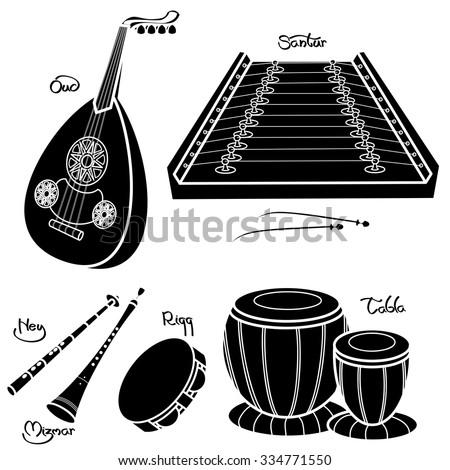 Set of hand drawn traditional Arabic musical instruments. Oud, santur, ney, mizmar, riqq and tabla. Black silhouettes technique drawing.