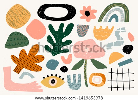 Set of hand drawn various shapes and doodle objects. Abstract contemporary modern trendy vector illustration. Stamp texture. All elements are isolated