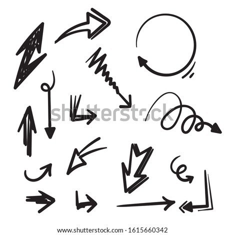Set of Hand drawn vector arrows doodle on white background. design element vector illustration doodle