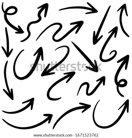 Set of Hand drawn vector arrows  doodle on white background.design element vector illustration.