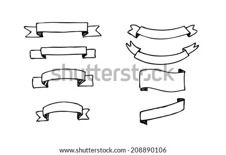 Set of hand-drawn vector banners. Black and white