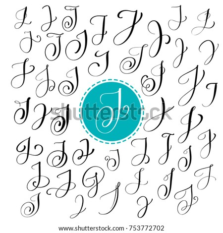 Set Of Hand Drawn Vector Calligraphy Letter J Script Font Isolated Letters Written With