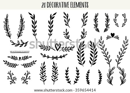 Shutterstock Set of hand drawn vector circular decorative elements for your design. Leaves, swirls, floral elements.