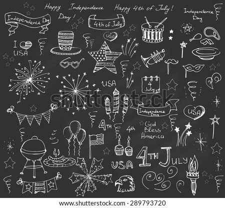 Set of hand drawn vector illustration elements Happy Independence Day, 4th of July, set of design elements for Independence Day, fireworks, star, flag, I love USA, balloons, BBQ, drum, uncle Sam\'s hat