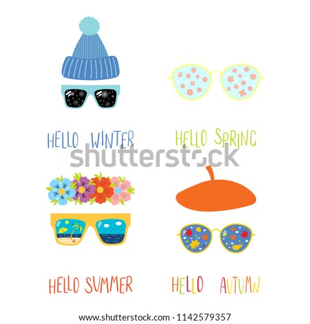 Set of hand drawn vector illustrations of sunglasses with summer, autumn, winter, spring symbols reflected, text. Isolated objects on white background. Flat style design. Concept four seasons.
