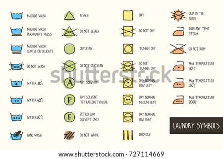 Set Of Hand Drawn Vector Laundry Symbols