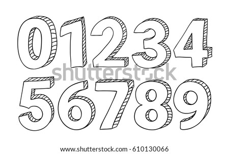 Set of hand drawn vector numbers isolated on white background