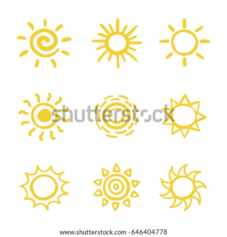Set of hand drawn vector sketchy sun icons isolated on white background