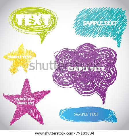 Set of hand drawn vector speech bubbles
