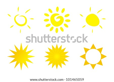 Set of hand drawn vector sun illustrations - yellow symbol, clip art or icon isolated on white background. Spring and summer weather sign, flat design element, logo or symbol.