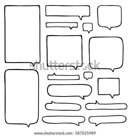 Set of hand-drawn vector talking bubbles. Black color, medium thickness of outline. Perfect for presentations and concept introduction.