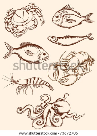 set of hand drawn vintage seafood icons