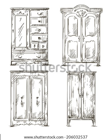 vintage window drawing. detail · set of hand drawn wardrobes. interior elements. vector illustration. #206032537 vintage window drawing e