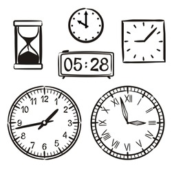 Set of hand-drawn watches isolated on a white background. Different types of watches in doodle style. Dials, hourglass and electronic clock. Vector illustration.