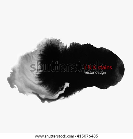 set of hand drawn water/ink stains. hand drawn black blots design elements. set of abstract ink spots. ink splattered background element.