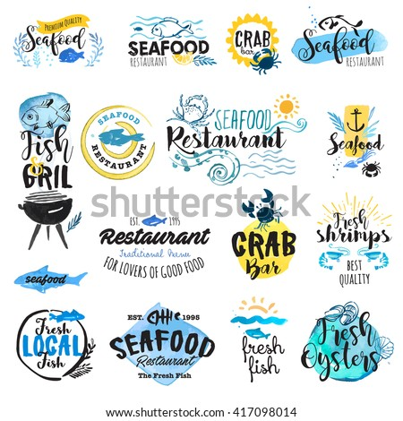 Shutterstock Set of hand drawn watercolor labels and badges of seafood. Vector illustrations for graphic and web design, for restaurant, menu, fish market.