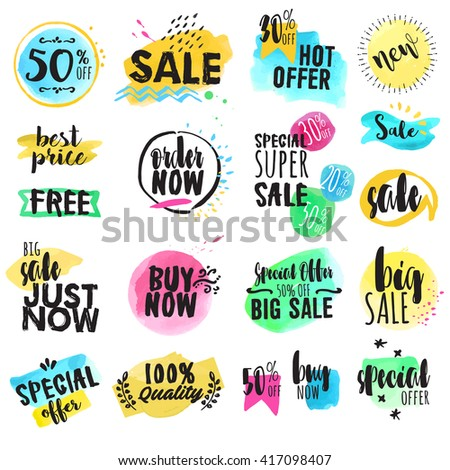 Set of hand drawn watercolor labels and stickers for sale. Vector illustrations for graphic and web design, for shopping, e-commerce, sale and discount, product promotion, web banner and badges.
