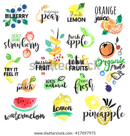 Set of hand drawn watercolor labels and stickers of fruit. Vector illustrations for graphic and web design, for food and drink, restaurant and bar, menu, fruit market, organic fruits. #417097975