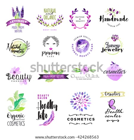 Set of hand drawn watercolor signs for beauty and cosmetics. Vector illustrations for graphic and web design, for natural and organic products, healthy life, beauty care.