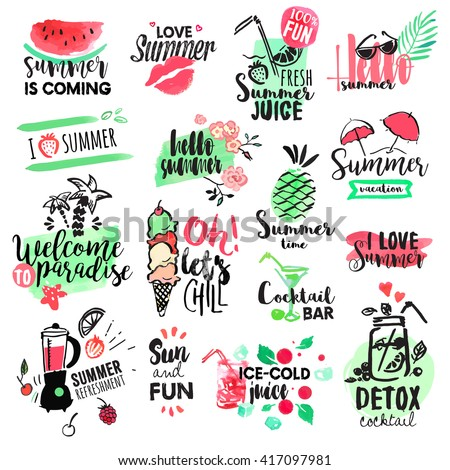 Set of hand drawn watercolor summer badges and elements. Vector illustrations for summer holiday, travel agency, restaurant and bar, menu, sea and sun, beach vacation and party.