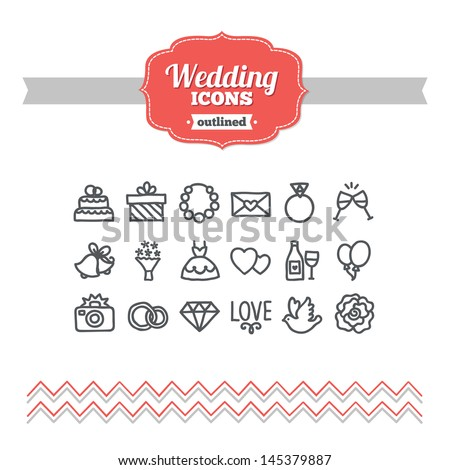 Set of hand drawn wedding icons