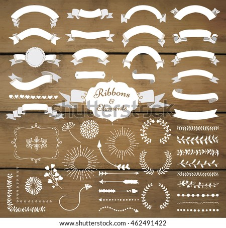 Rustic menu vector download free vector art stock graphics images set of hand drawn white doodle sketched rustic decorative wedding design elements and ribbons on wooden junglespirit Images