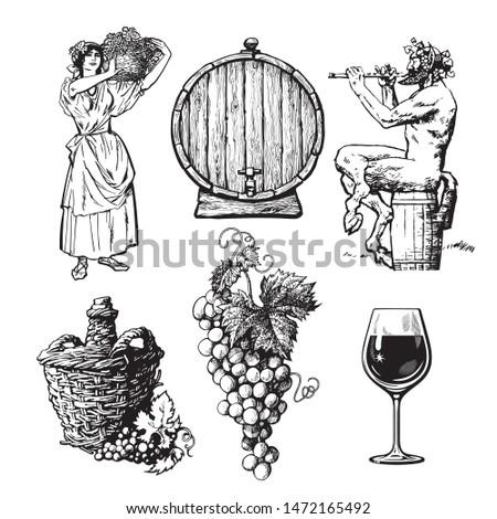 set of hand drawn wine design